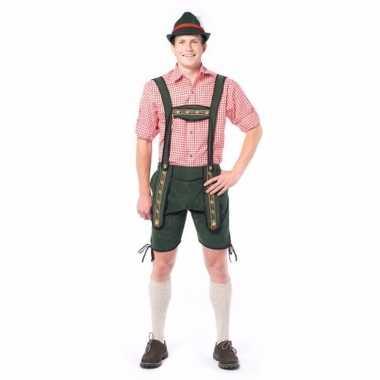 Oktoberfest korte lederhose donker groen voor heren