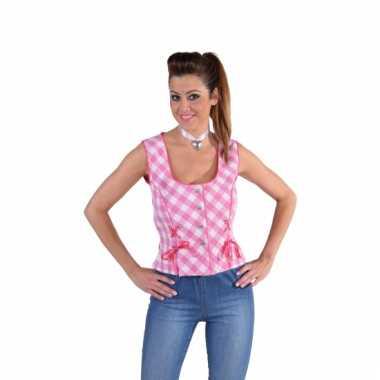 Oktoberfest mouwloos hemd roze