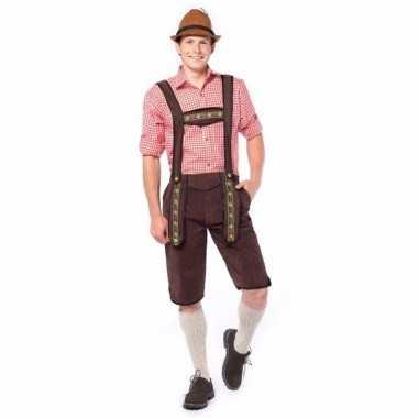 Oktoberfest overknee lederhose donker bruin voor heren
