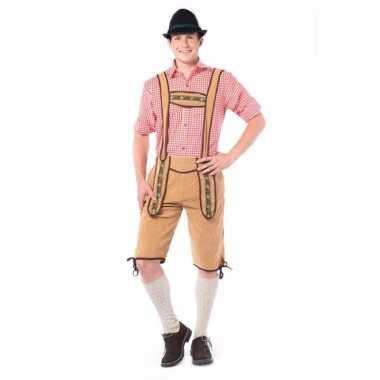 Oktoberfest overknee lederhose licht bruin voor heren