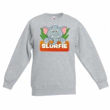Olifant dieren sweater grijs voor kinderen