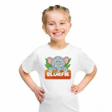 Olifant dieren t-shirt wit voor kinderen