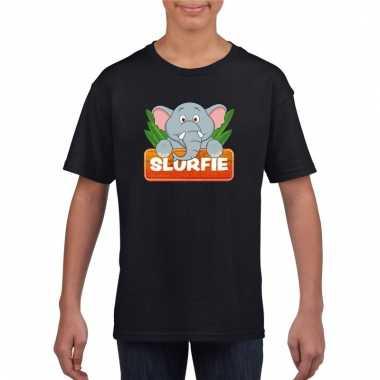 Olifant dieren t-shirt zwart voor kinderen