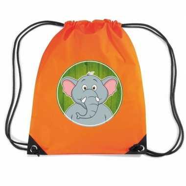 Olifant dieren trekkoord rugzak / gymtas oranje voor kinderen