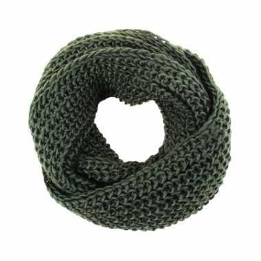 Olijf groen gebreide ronde col sjaal voor volwassenen