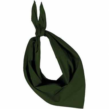 Olijf groene basic bandana/hals zakdoeken/sjaals/shawls voor volwasse