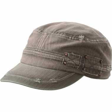 Olijf kleurig leger cap met clip sluiting