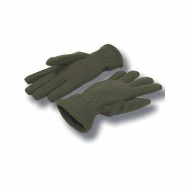 Olijf kleurige handschoenen fleece voor dames/heren