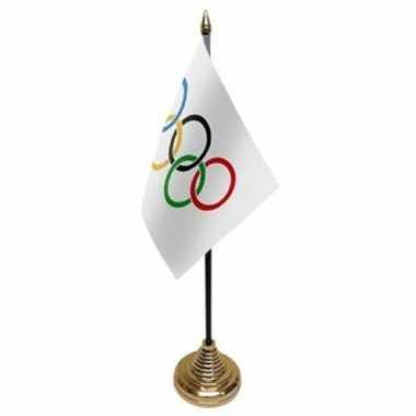Olympische spelen versiering tafelvlag 10 x 15 cm