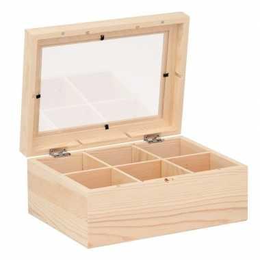 Onbedrukte houten theedoos 22 cm