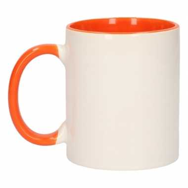 Onbedrukte mokken wit/oranje