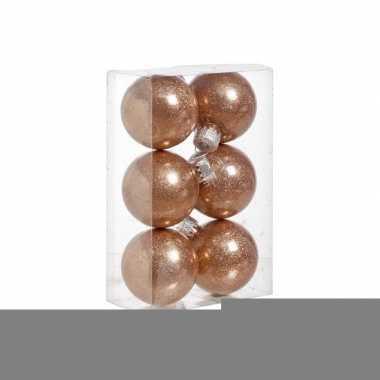 Onbreekbare koperen kerstballen 6x