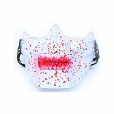 Onderkaak wit bebloed schedel plastic masker