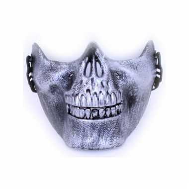 Onderkaak zilveren schedel plastic masker