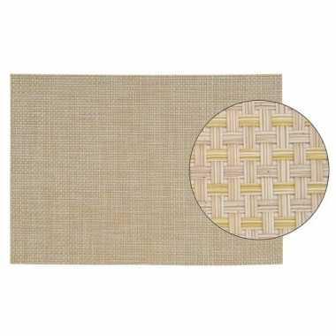 Onderlegger met geweven print beige 45 x 30 cm