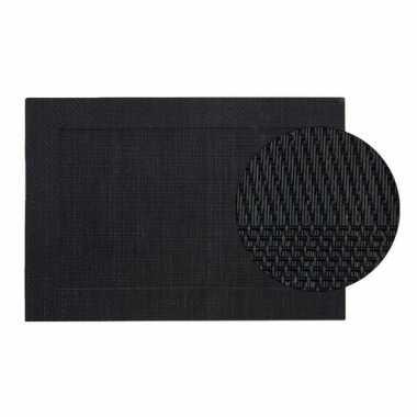 Onderlegger zwart gevlochten 45 x 30 cm