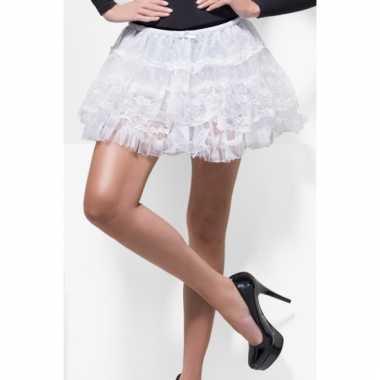 Onderrokje petticoat wit met kant