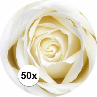 Onderzetters voor glazen met witte roos 50 st