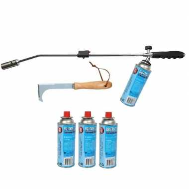 Onkruidbrander op gas met 4x gasfles en onkruidkrabber