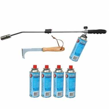 Onkruidbrander op gas met 5x gasfles en onkruidkrabber