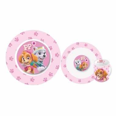 Ontbijtservies paw patrol roze voor meisjes