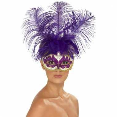 Oog masker paarse veren