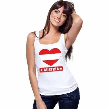 Oostenrijk hart vlag mouwloos shirt wit dames