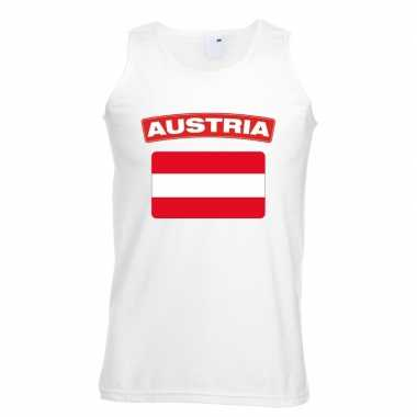 Oostenrijk vlag mouwloos shirt wit heren