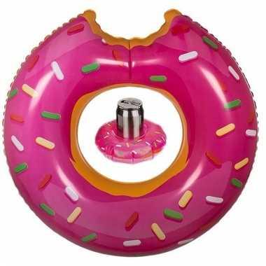 Opblaas roze donut zwemband en bekerhouder voor in het zwembad