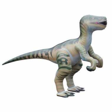 Opblaas velociraptor dino bruin 130 cm