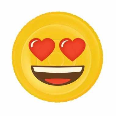 Opblaasbaas hartjesogen smiley luchtbed 130 x 110 cm