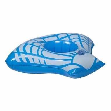Opblaasbare blikjes houder blauwe zeeschelp 23 cm
