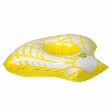 Opblaasbare blikjes houder gele zeeschelp 23 cm