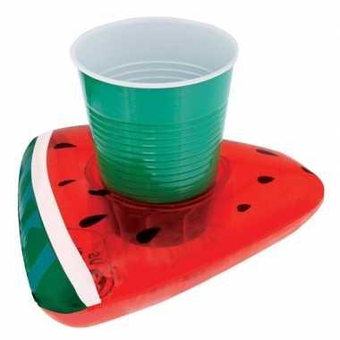 Opblaasbare blikjes houder watermeloen 19 cm