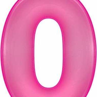Opblaasbare cijfer 0 roze