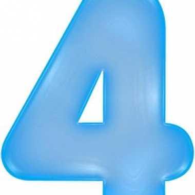 Opblaasbare cijfer 4 blauw