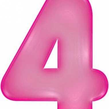 Opblaasbare cijfer 4 roze