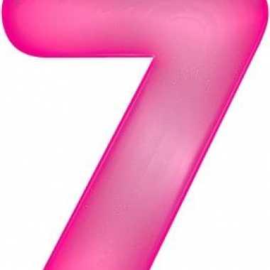 Opblaasbare cijfer 7 roze