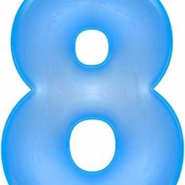 Opblaasbare cijfer 8 blauw