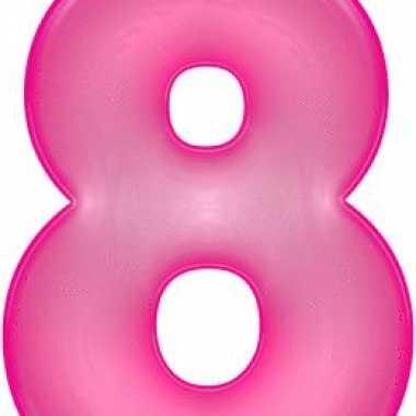 Opblaasbare cijfer 8 roze