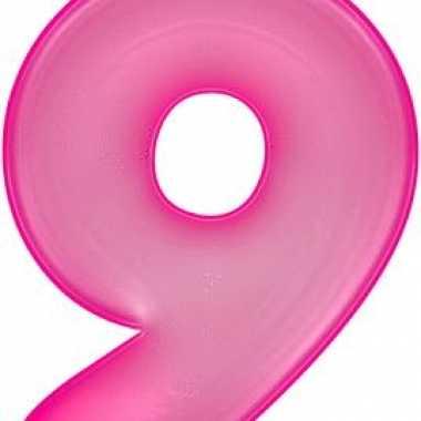 Opblaasbare cijfer 9 roze