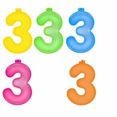 Opblaasbare gekleurde cijfers 3