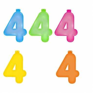 Opblaasbare gekleurde cijfers 4