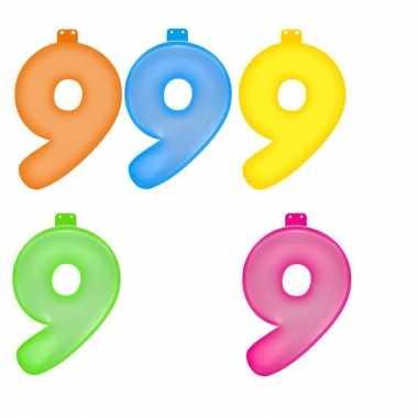 Opblaasbare gekleurde cijfers 9