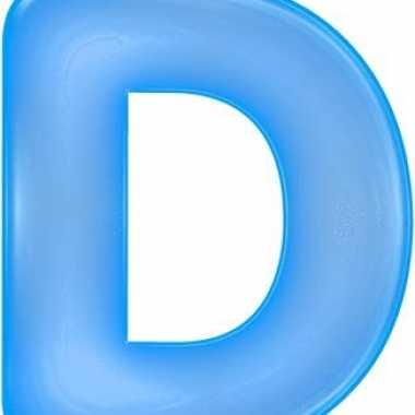 Opblaasbare letter d blauw