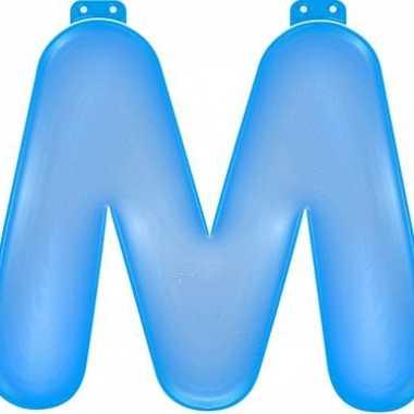 Opblaasbare letter m blauw