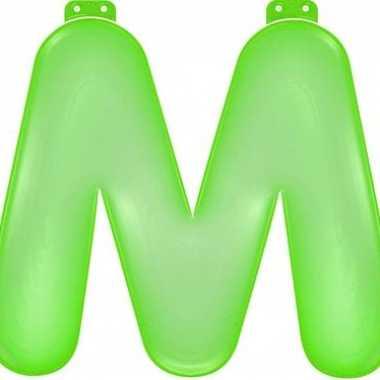 Opblaasbare letter m groen