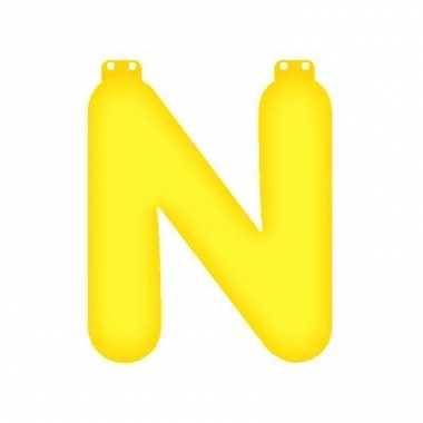 Opblaasbare letter n geel