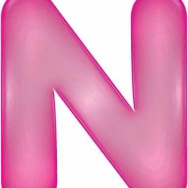 Opblaasbare letter n roze