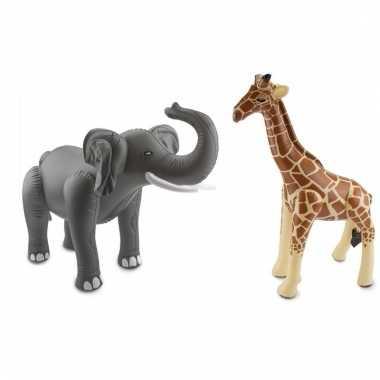 Opblaasbare olifant en giraffe set